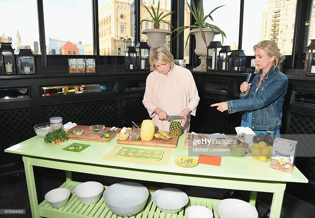 Martha Stewart and Martha Stewart's Executive Food Director Lucinda Scala Quinn conduct a presentation as Martha Stewart partners with Triscuit to unveil Limited Edition Triscuit Flavor at Gramercy Park Hotel on May 6, 2015 in New York City.