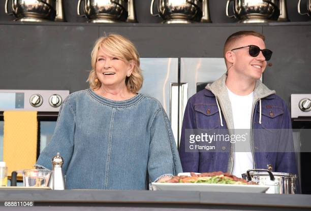 Martha Stewart and recording artist Macklemore are seen onstage during the 2017 BottleRock Napa Valley Festival on May 26 2017 in Napa California