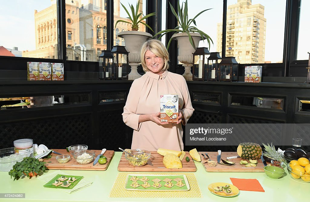 <a gi-track='captionPersonalityLinkClicked' href=/galleries/search?phrase=Martha+Stewart&family=editorial&specificpeople=202905 ng-click='$event.stopPropagation()'>Martha Stewart</a> conducts a presentation as she partners with Triscuit to unveil Limited Edition Triscuit Flavor at Gramercy Park Hotel on May 6, 2015 in New York City.