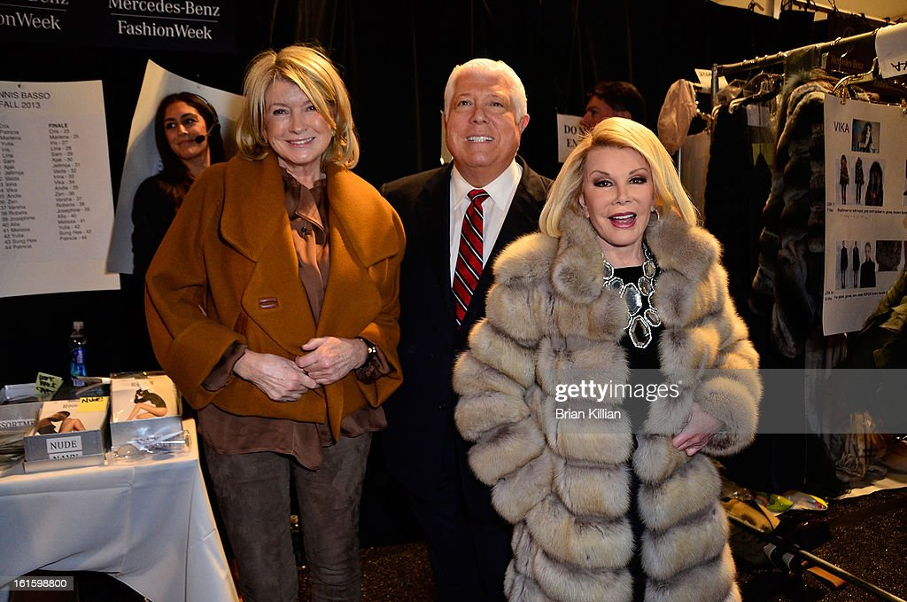 <a gi-track='captionPersonalityLinkClicked' href=/galleries/search?phrase=Martha+Stewart&family=editorial&specificpeople=202905 ng-click='$event.stopPropagation()'>Martha Stewart</a>, Dennis Brasso and <a gi-track='captionPersonalityLinkClicked' href=/galleries/search?phrase=Joan+Rivers&family=editorial&specificpeople=159403 ng-click='$event.stopPropagation()'>Joan Rivers</a> attend Dennis Basso during Fall 2013 Mercedes-Benz Fashion Week at The Stage at Lincoln Center on February 12, 2013 in New York City.