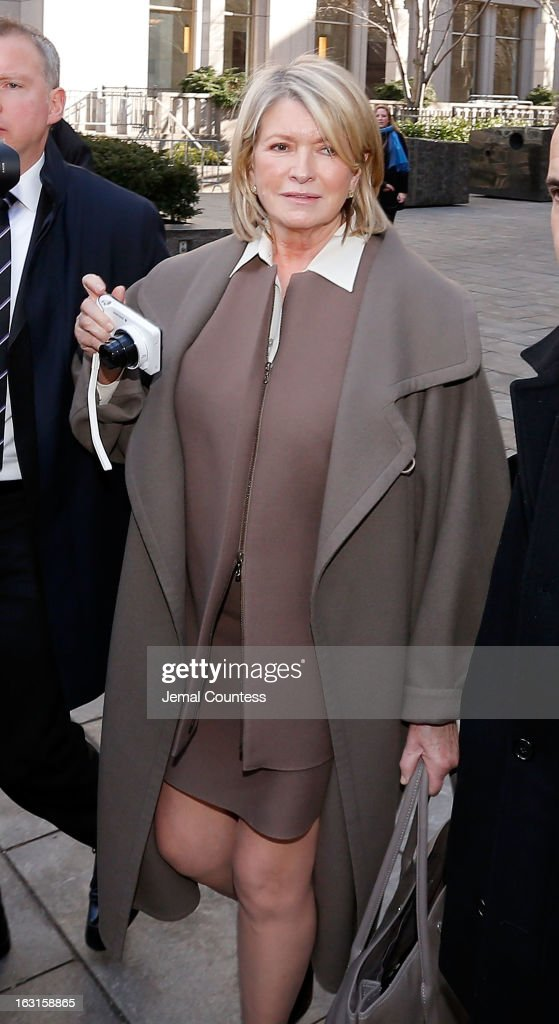 Martha Stewart departs the Manhattan Supreme Court after testifying in March 5, 2013 In New York City. Stewart is testifying after Macy's Department Store sued the rival retailer J.C. Penney and Martha Stewart Living Omnimedia when plans to launch Martha Stewart boutiques in J.C. Penney stores were announced December of 2011.