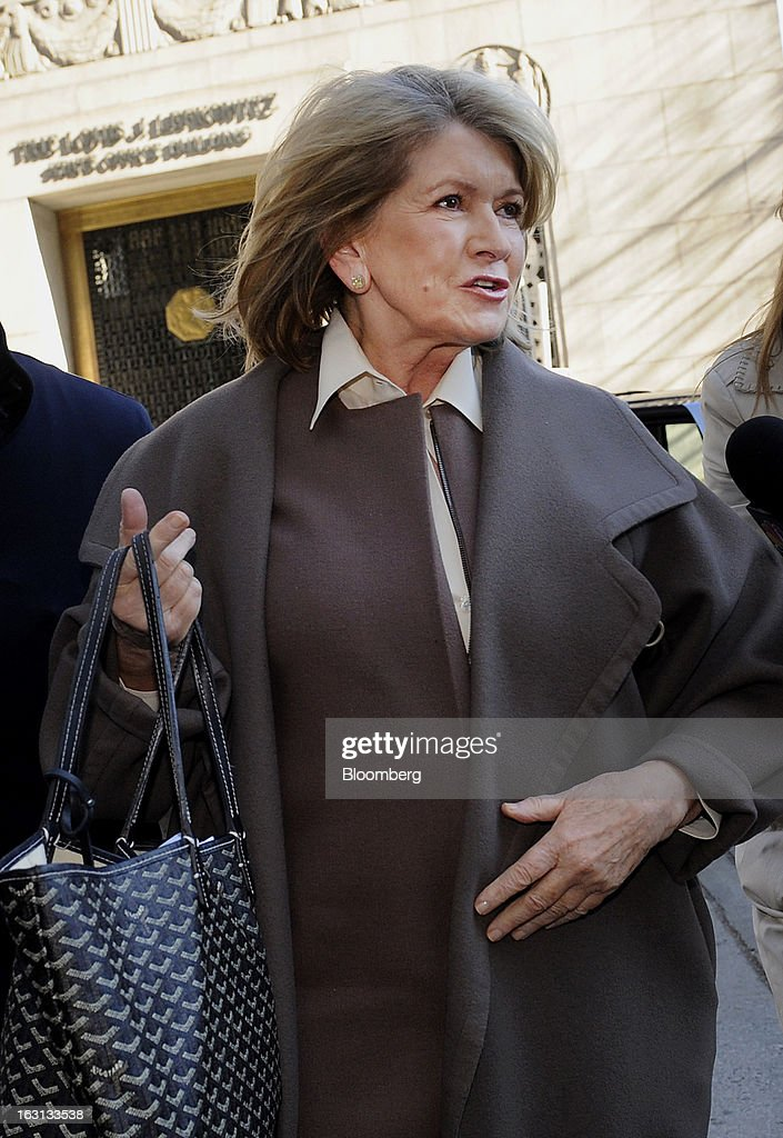 Martha Stewart, founder of Martha Stewart Living Omnimedia Inc., arrives at State Supreme court in New York, U.S., on Tuesday, March 5, 2013. Stewart took the stand in a Manhattan courtroom today as Macy's Inc. continues its fight to persuade a New York state judge to block parts of her company's agreement with J.C. Penney Co. Photographer: Louis Lanzano/Bloomberg via Getty Images