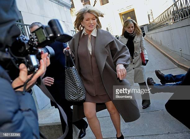 Martha Stewart founder of Martha Stewart Living Omnimedia Inc center arrives at State Supreme court in New York US on Tuesday March 5 2013 Stewart...