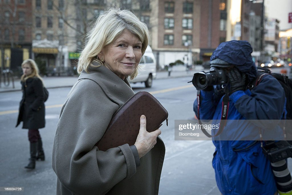 Martha Stewart, founder of Martha Stewart Living Omnimedia Inc., enters federal court in New York, U.S., on Thursday, Jan. 24, 2012. After sluggish advertising sales in its media business contributed to four straight years of losses and declining revenue, Martha Stewart Living is focusing more on selling merchandise through retailers. Photographer: Scott Eells/Bloomberg via Getty Images