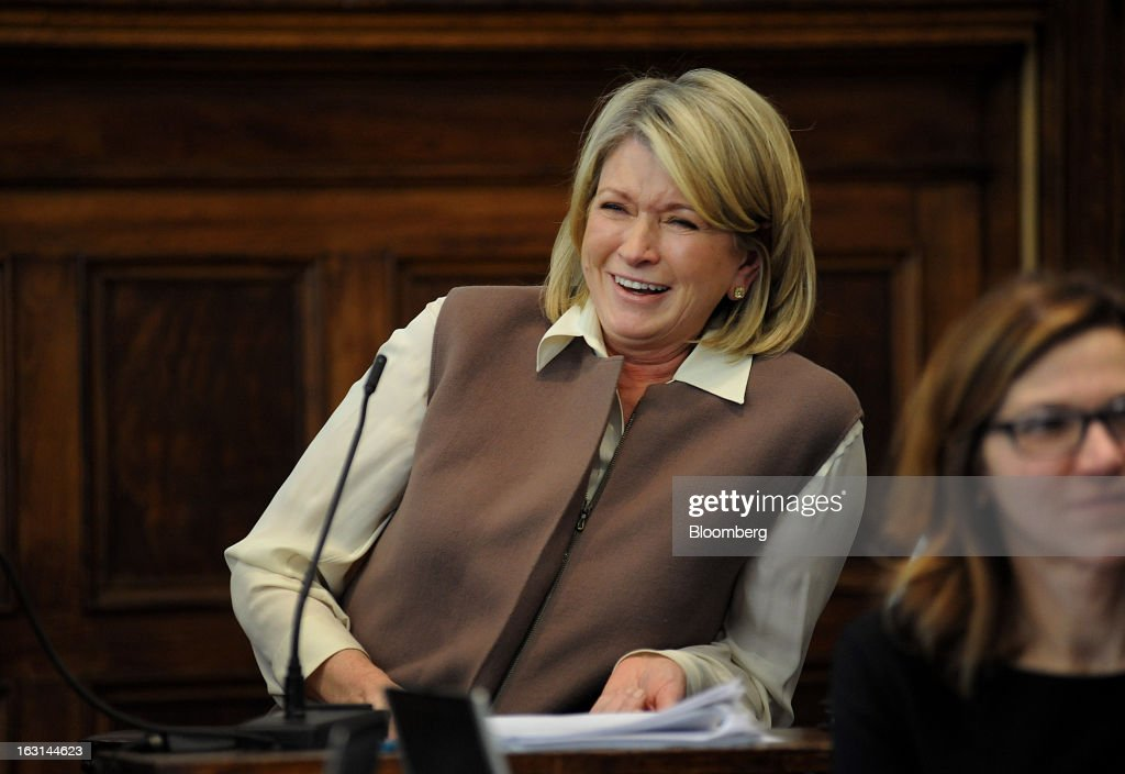 Martha Stewart, founder of Martha Stewart Living Omnimedia Inc., laughs while testifying at State Supreme court in New York, U.S., on Tuesday, March 5, 2013. Stewart took the stand in a Manhattan courtroom today as Macy's Inc. continues its fight to persuade a New York state judge to block parts of her company's agreement with J.C. Penney Co. Photographer: David Handschuh/Pool via Bloomberg