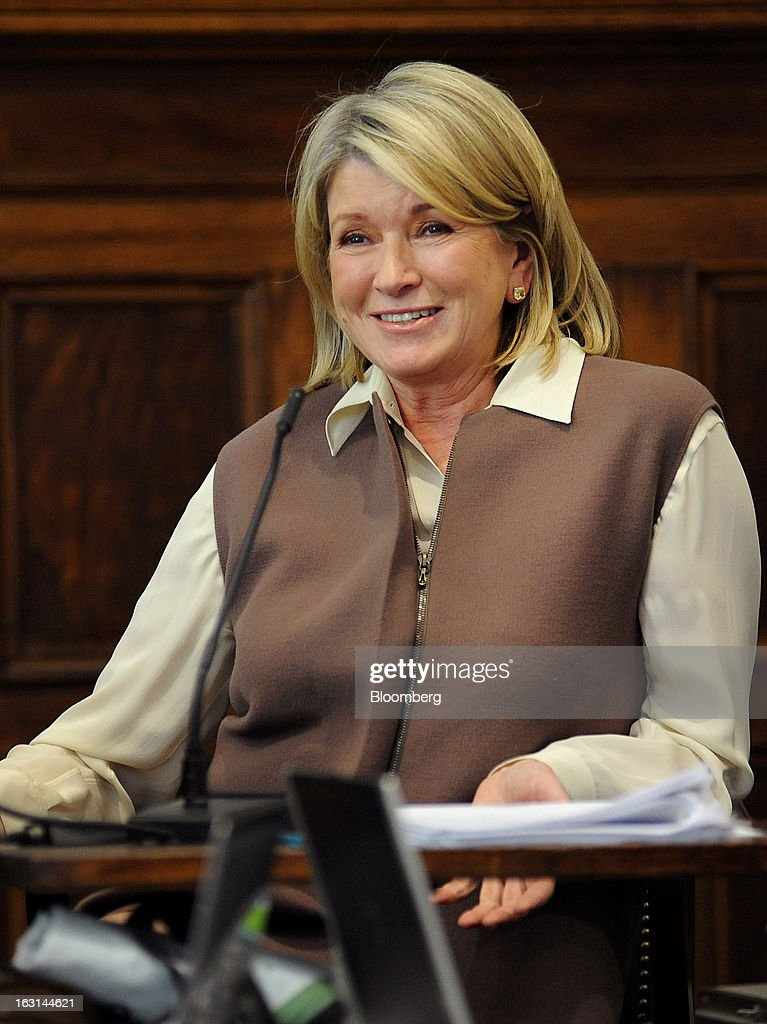 Martha Stewart, founder of Martha Stewart Living Omnimedia Inc., smiles while testifying at State Supreme court in New York, U.S., on Tuesday, March 5, 2013. Stewart took the stand in a Manhattan courtroom today as Macy's Inc. continues its fight to persuade a New York state judge to block parts of her company's agreement with J.C. Penney Co. Photographer: David Handschuh/Pool via Bloomberg