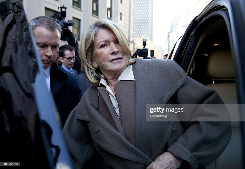 <a gi-track='captionPersonalityLinkClicked' href=/galleries/search?phrase=Martha+Stewart&family=editorial&specificpeople=202905 ng-click='$event.stopPropagation()'>Martha Stewart</a>, founder of <a gi-track='captionPersonalityLinkClicked' href=/galleries/search?phrase=Martha+Stewart&family=editorial&specificpeople=202905 ng-click='$event.stopPropagation()'>Martha Stewart</a> Living Omnimedia Inc., steps into a vehicle after exiting State Supreme court in New York, U.S., on Tuesday, March 5, 2013. Stewart took the stand in a Manhattan courtroom today as Macy's Inc. continues its fight to persuade a New York state judge to block parts of her company's agreement with J.C. Penney Co. Photographer: Jin Lee/Bloomberg via Getty Images