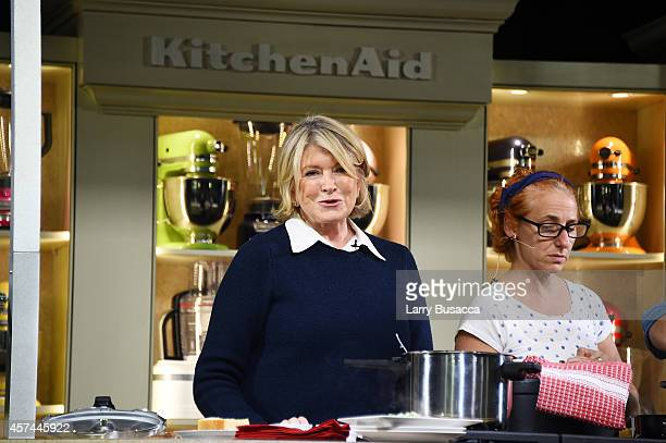 Martha Stewart gives a demonstration of recipes from her book 'One Pot' on the KitchenAid stage at the Grand Tasting presented by ShopRite featuring...