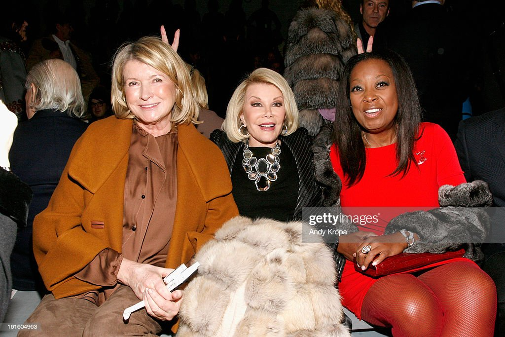 <a gi-track='captionPersonalityLinkClicked' href=/galleries/search?phrase=Martha+Stewart&family=editorial&specificpeople=202905 ng-click='$event.stopPropagation()'>Martha Stewart</a>, <a gi-track='captionPersonalityLinkClicked' href=/galleries/search?phrase=Joan+Rivers&family=editorial&specificpeople=159403 ng-click='$event.stopPropagation()'>Joan Rivers</a> and <a gi-track='captionPersonalityLinkClicked' href=/galleries/search?phrase=Star+Jones&family=editorial&specificpeople=202645 ng-click='$event.stopPropagation()'>Star Jones</a> attend the Dennis Basso Fall 2013 fashion show during Mercedes-Benz Fashion Week at The Stage at Lincoln Center on February 12, 2013 in New York City.