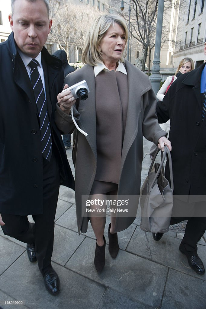 Martha Stewart leaves New York State Supreme Court as she turned point-and-shot on photographers. A Macy's bigwig testified that the upmarket chain is demanding the exclusive right to sell Martha Stewart housewares. Macy's sued Martha Stewart Living Omnimedia and J.C. Penney to block a $282.9 million deal for Stewart to sell her products in the down-market chain. Stewart's firm signed a contract with Macy's in 2006, and another one with J.C. Penney in 2011.