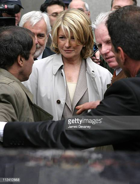 Martha Stewart leaves the Federal Court House in New York City after being indicted Wednesday with conspiracy and making false statements involving...