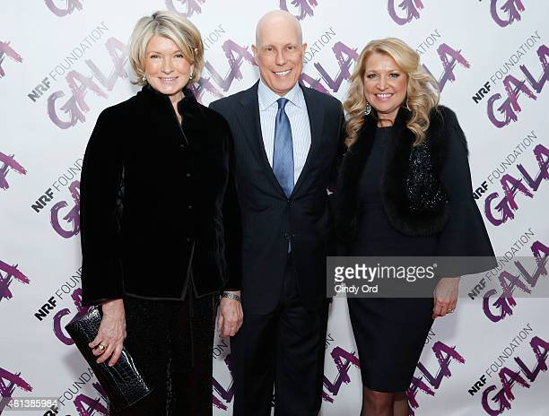 Martha Stewart President and CEO Matthew R Shay and CEO HSNI Mindy Grossman attend the NRF Foundation Gala on January 11 2015 in New York City