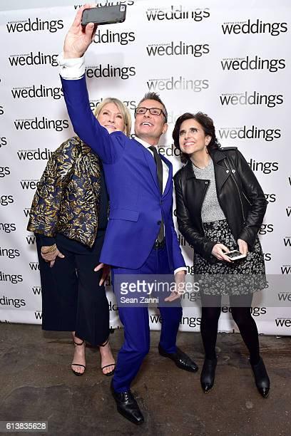Martha Stewart Randy Fenoli and Darcy Miller attend Martha Stewart Weddings Bridal Fashion Week Party at Hudson Mercantile on October 10 2016 in New...