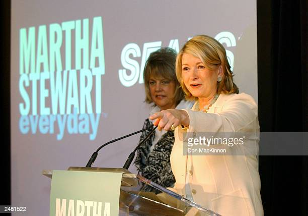 Martha Stewart speaks during the launch of her new household line of bed bath and kitchen merchandise with Sharon Patrick president and CEO of Martha...