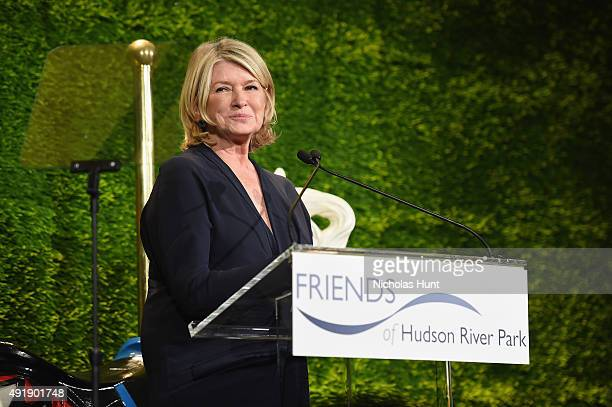 Martha Stewart speaks onstage during the 2015 Friends of Hudson River Park Gala at Hudson River Park's Pier 62 on October 8 2015 in New York City