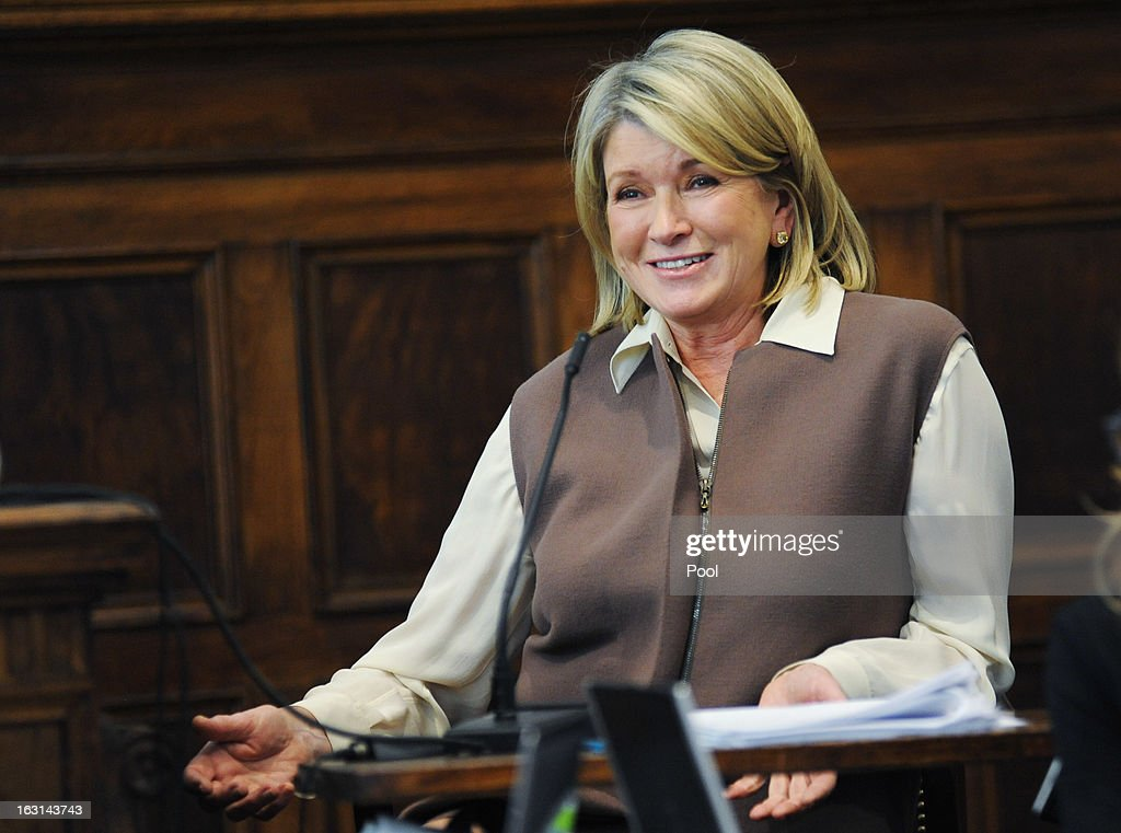 Martha Stewart (2nd R) testifies in Manhattan Supreme Court March 5, 2013 In New York City. Stewart is testifying after Macy's Department Store sued the rival retailer J.C. Penney and Martha Stewart Living Omnimedia when plans to launch Martha Stewart boutiques J.C. Penney stores in were announced in December of 2011.