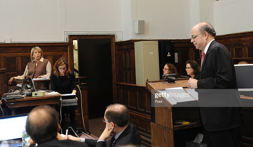 Martha Stewart (2nd R) testifies in Manhattan Supreme Court with her attorney Eric Deiler March 5, 2013 In New York City. Stewart is testifying after Macy's Department Store sued the rival retailer J.C. Penney and Martha Stewart Living Omnimedia when plans to launch Martha Stewart boutiques J.C. Penney stores in were announced in December of 2011.