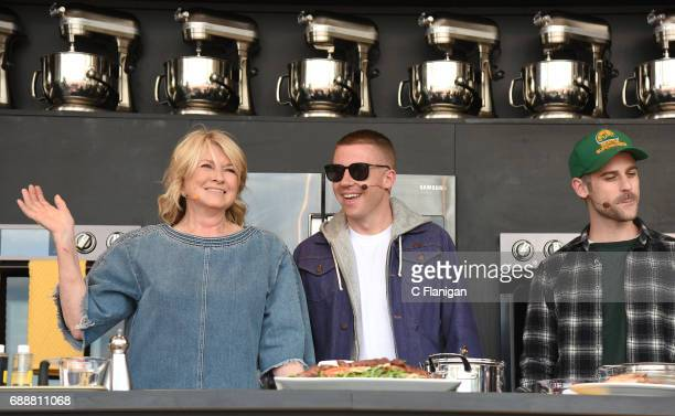 Martha Stewart with Macklemore and Ryan Lewis are seen during the 2017 BottleRock Napa Valley Festival on May 26 2017 in Napa California