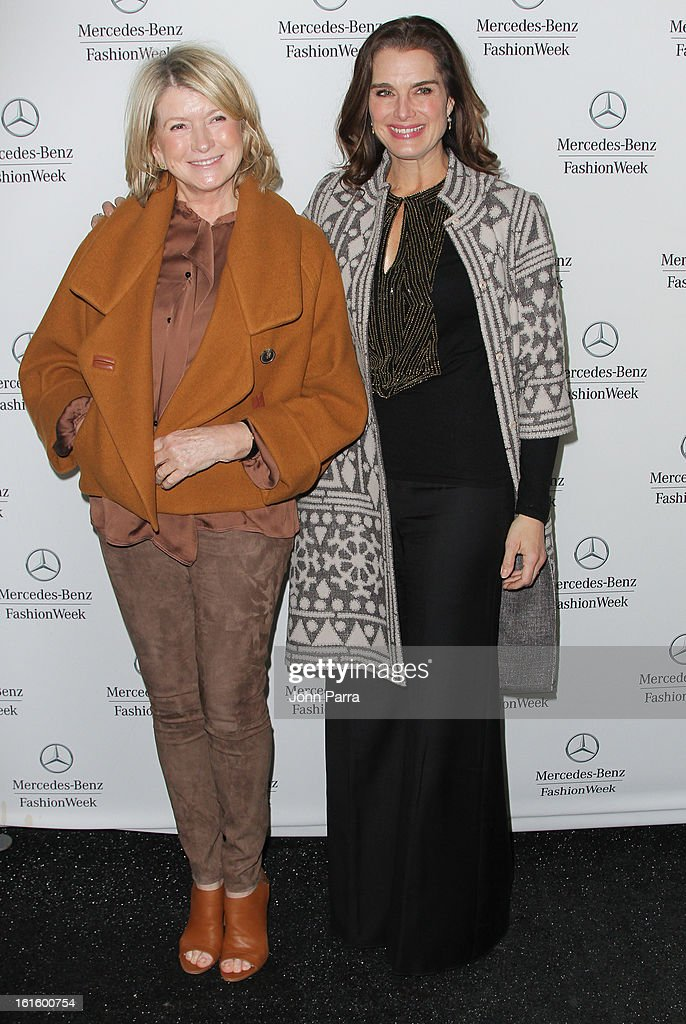 Martha Stuart and <a gi-track='captionPersonalityLinkClicked' href=/galleries/search?phrase=Brooke+Shields&family=editorial&specificpeople=202197 ng-click='$event.stopPropagation()'>Brooke Shields</a> are seen during Fall 2013 Mercedes-Benz Fashion Week at Lincoln Center for the Performing Arts on February 12, 2013 in New York City.