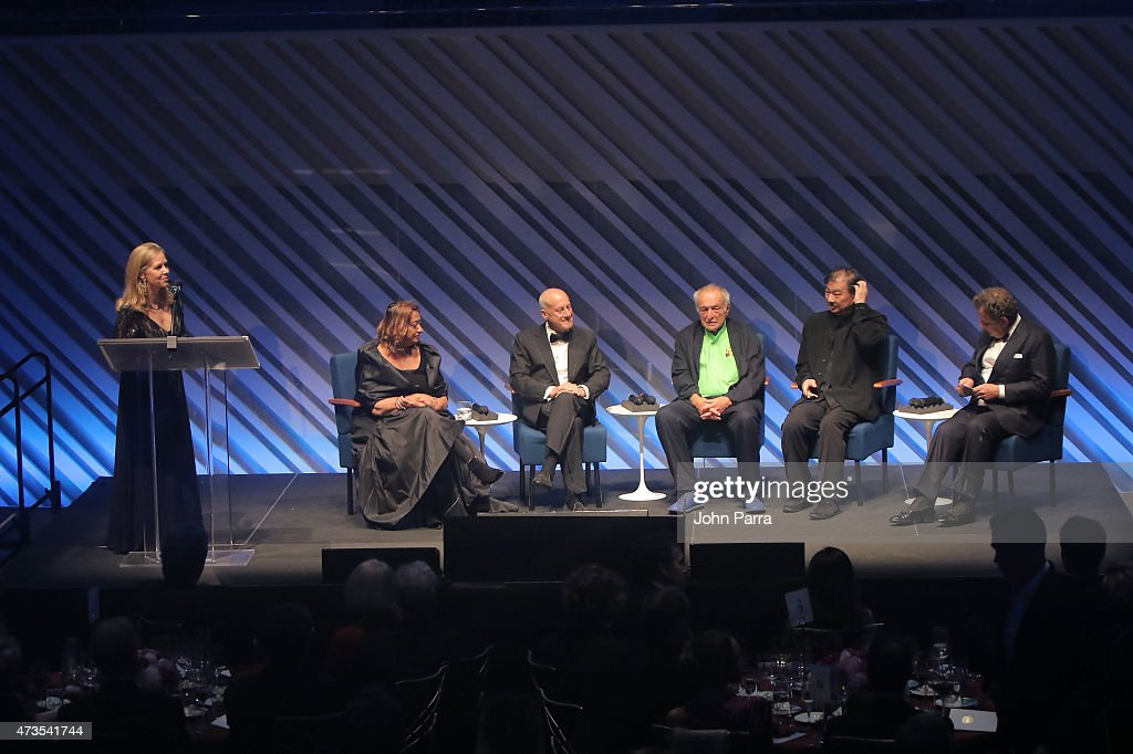 Martha Thorne, Zaha Hadid, Lord Norman Foster, Lord Richard Rogers, Shigeru Ban and Francesco Dal Co onstage during Pritzker Architecture Prize 2015 at New World Symphony on May 15, 2015 in Miami Beach, Florida.