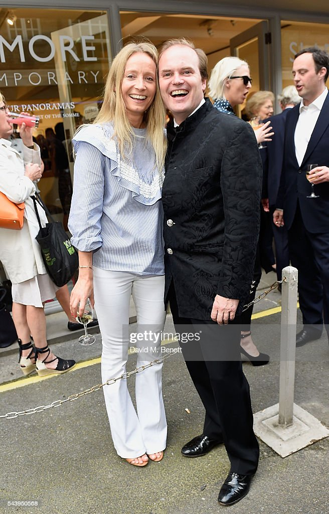 <a gi-track='captionPersonalityLinkClicked' href=/galleries/search?phrase=Martha+Ward&family=editorial&specificpeople=4263200 ng-click='$event.stopPropagation()'>Martha Ward</a> and Harry Dalmeny attend the exhibition launch party of 'The Zero Hour Panoramas' by Jolyon Fenwick. The exhibition consists of 14 photographic panoramas showcasing, '100 Years on: Views From The Parapet of the Somme', at Sladmore Contemporary on June 30, 2016 in London, England.