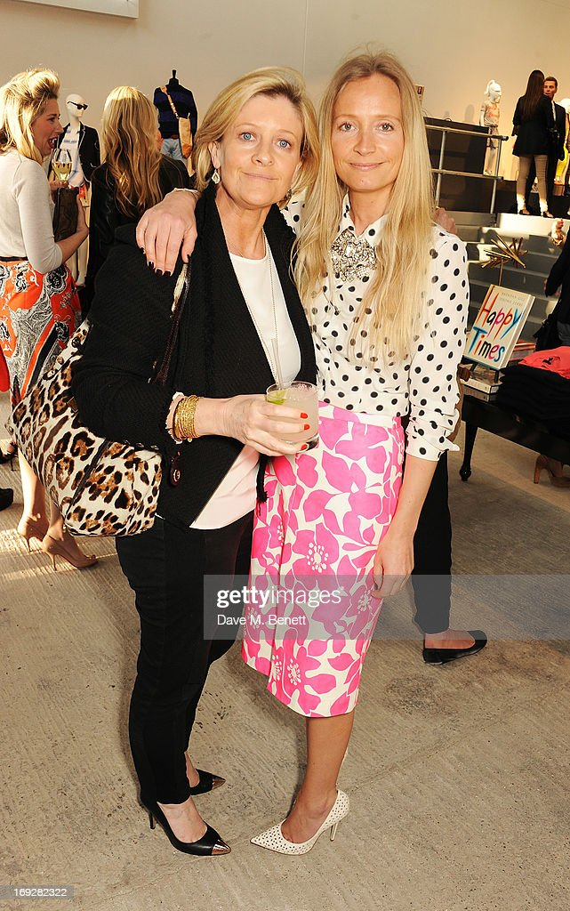 Martha Ward and Sasha Forbes (L) attends the J.Crew concept store to launch their partnership with Central Saint Martins College Of Arts And Design at The Stables on May 22, 2013 in London, England.