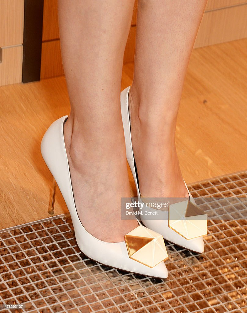 Martha Ward (shoe detail) attends the Moynat London boutique opening on March 12, 2014 in London, England.