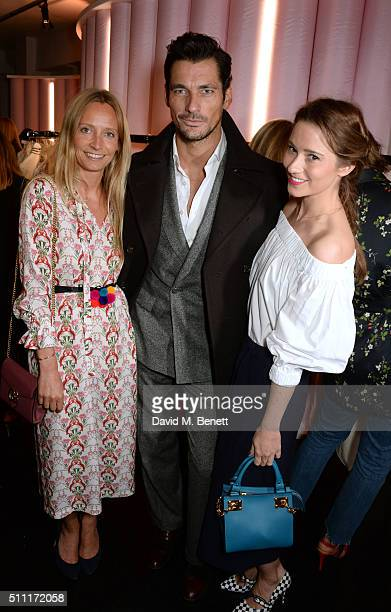 Martha Ward David Gandy and Kelly Eastwood attend a party hosted by Marks and Spencer The British Fashion Council and Alexa Chung to kick off London...