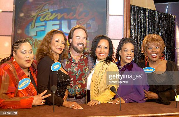 LR Martha Wash Freda Payne host Richard Karn Janice Marie Evelyn 'Champagne' King and Thelma Houston at the NBC Studios in Los Angeles California