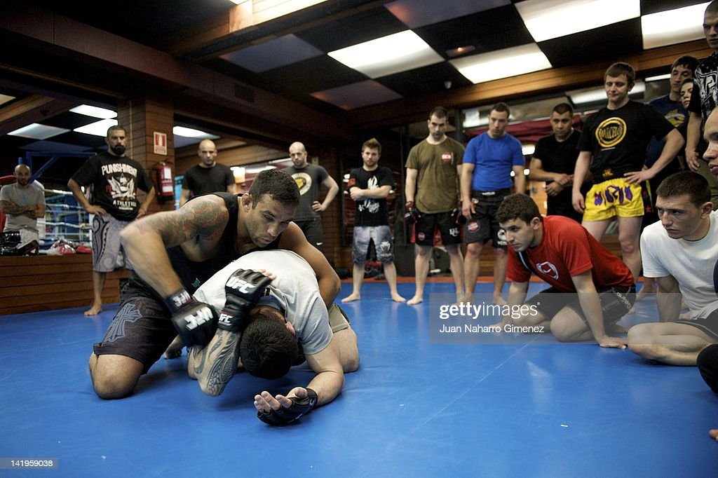 martial artist fabricio werdum offers a class to fans at gym barcelo on march