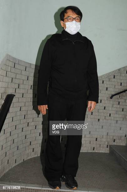 Martial artist Jackie Chan arrives at the mourning hall of film producer/talent manager Willie Chan ChiKeung on November 22 2017 in Hong Kong China...