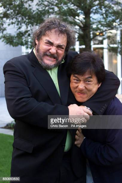 Martial arts actor Jackie Chan with actor John RhysDavies at a photocall in Dublin to announce the filming of the Irish locations of the action...