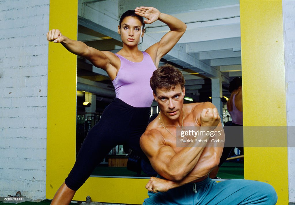 Martial arts actor Jean-Claude Van Damme and wife Gladys Portugues at the Weider Gym in Paris.