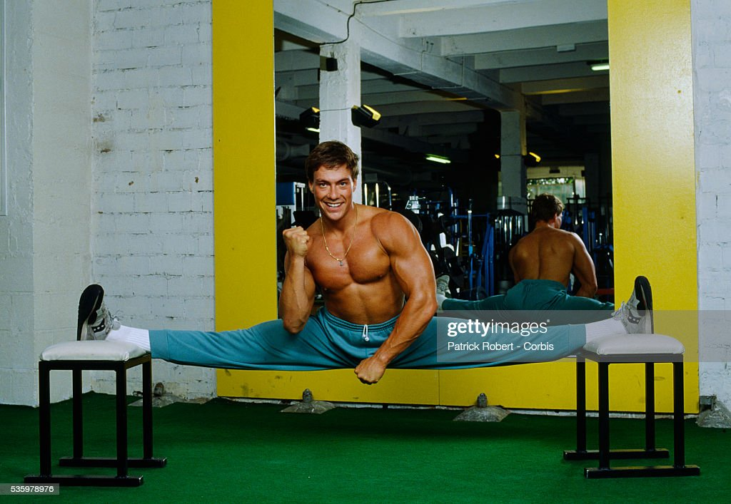 Martial arts actor Jean-Claude Van Damme working out at the Weider Gym in Paris in 1988.