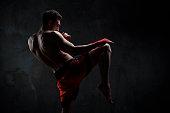 Young man training martial arts