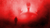 Martian in forest with human, extraterrestrial and paranormal effects