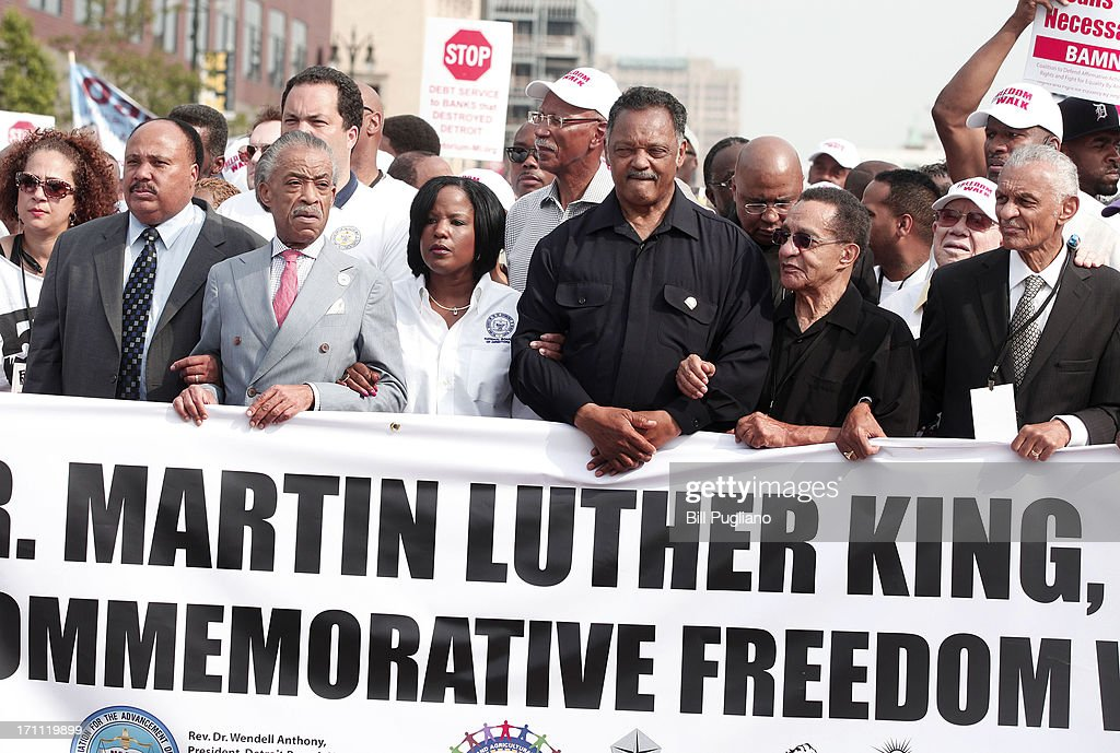 Martiin Luther King III, Rev. Al Sharpton, Roslyn M. Brock, Rev. Jesse Jackson (3rd-R) and Rev. C.T. Vivian (R) march in the 50th Anniversary Commemorative Freedom Walk June 22, 2013 in Detroit, Michigan. The march commerates the 50th anniversary of Dr. Martin Luther King's Walk To Freedom.