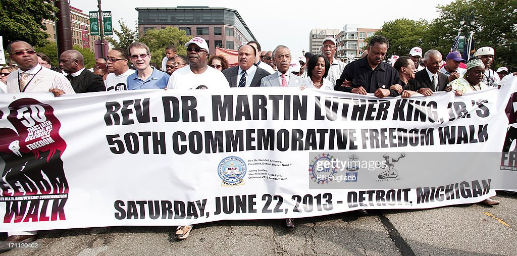 Martiin Luther King III, Rev. Al Sharpton, Roslyn M. Brock, Rev. Jesse Jackson and Rev. C.T. Vivian march in the 50th Anniversary Commemorative Freedom Walk June 22, 2013 in Detroit, Michigan. The march commerates the 50th anniversary of Dr. Martin Luther King's Walk To Freedom.