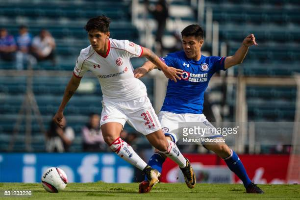 Martin Abundiz of Toluca struggles for the ball against Francisco Silva of Cruz Azul during the 4th round match between Cruz Azul and Chivas as part...