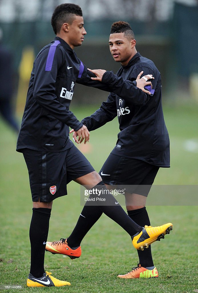 Martin Angha and Serge Gnabry of Arsenal warm up during a training session prior to the NextGen Series match between Inter Milan and Arsenal at Inter Milan Training Ground, Centro Sportivo Facchetti Facchetti on March 05, 2013 in Milan, Italy.