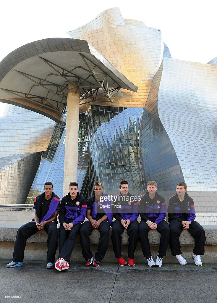 Martin Angha Hector Bellerin Serge Gnabry Jon Toral Sead Hajrovic and Thomas Eisfeld during a walk in the morning before the NextGen Series match...