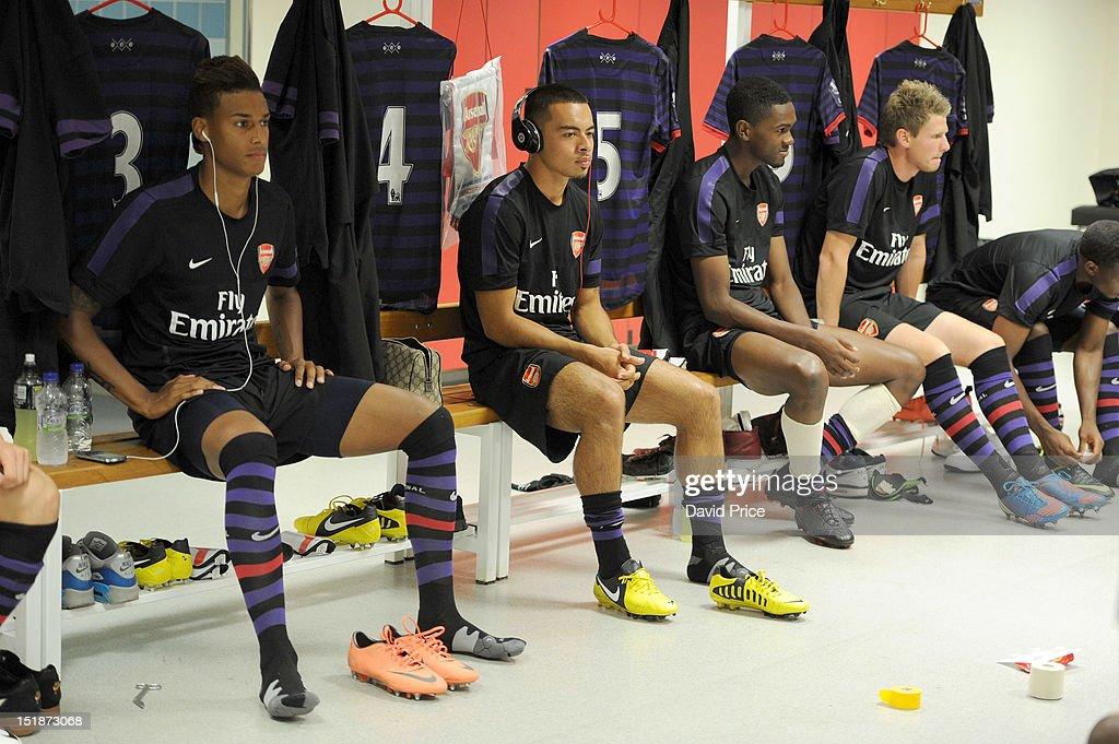 Martin Angha Nico Yennaris Elton Montiero and Sead Hajrovic of Arsenal before the NextGen Series match between Olympiacos and Arsenal at Karaiskakis...