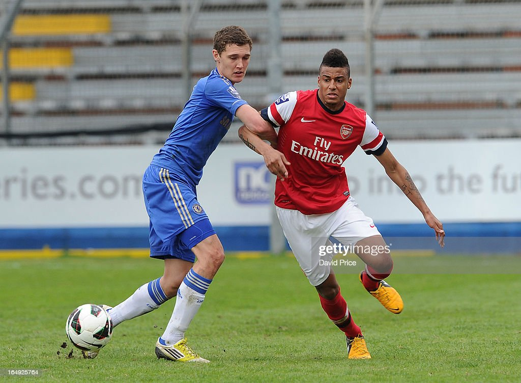 Martin Angha of Arsenal bursts past Andreas Cgristensen of Chelsea during the NextGen Series Semi Final match between Arsenal and Chelsea at Stadio Guiseppe Sinigallia on March 29, 2013 in Como, Italy.