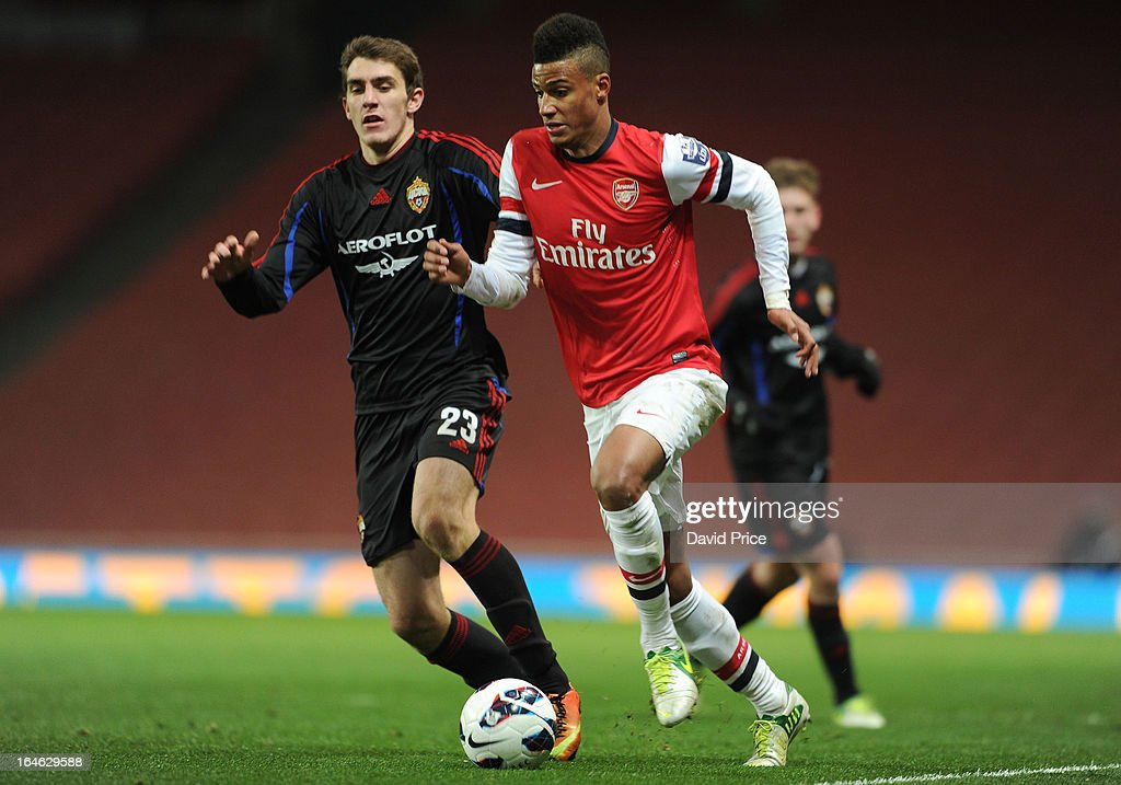 Martin Angha of Arsenal takes on Konstantin Bazelyuk of CSKA during the NextGen Series Quarter Final match between Arsenal and PFC CSKA at Emirates Stadium on March 25, 2013 in London, England.