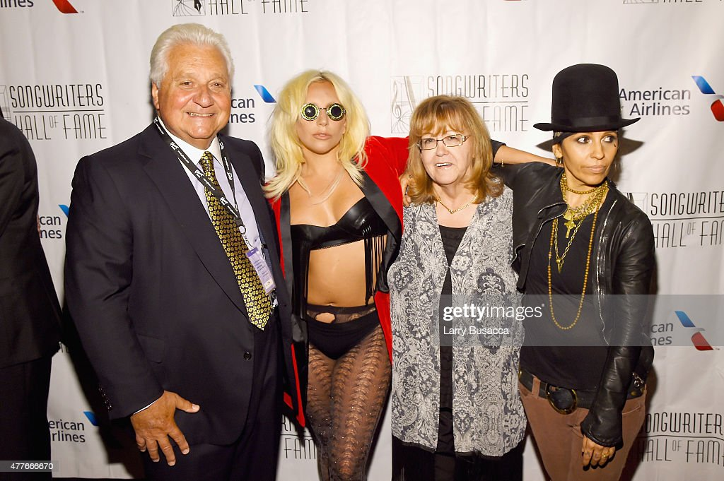 Martin Bandier Lady Gaga Linda Moran and Linda Perry pose backstage at the Songwriters Hall Of Fame 46th Annual Induction And Awards at Marriott...