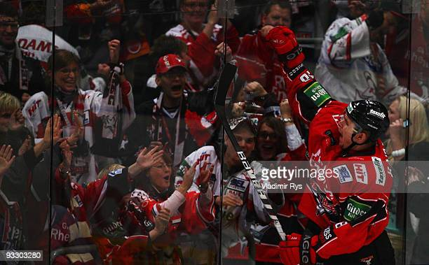 Martin Bartek of Haie celebrates after scoring his team's third goal during the Deutsche Eishockey Liga game between Koelner Haie and Frankfurt Lions...