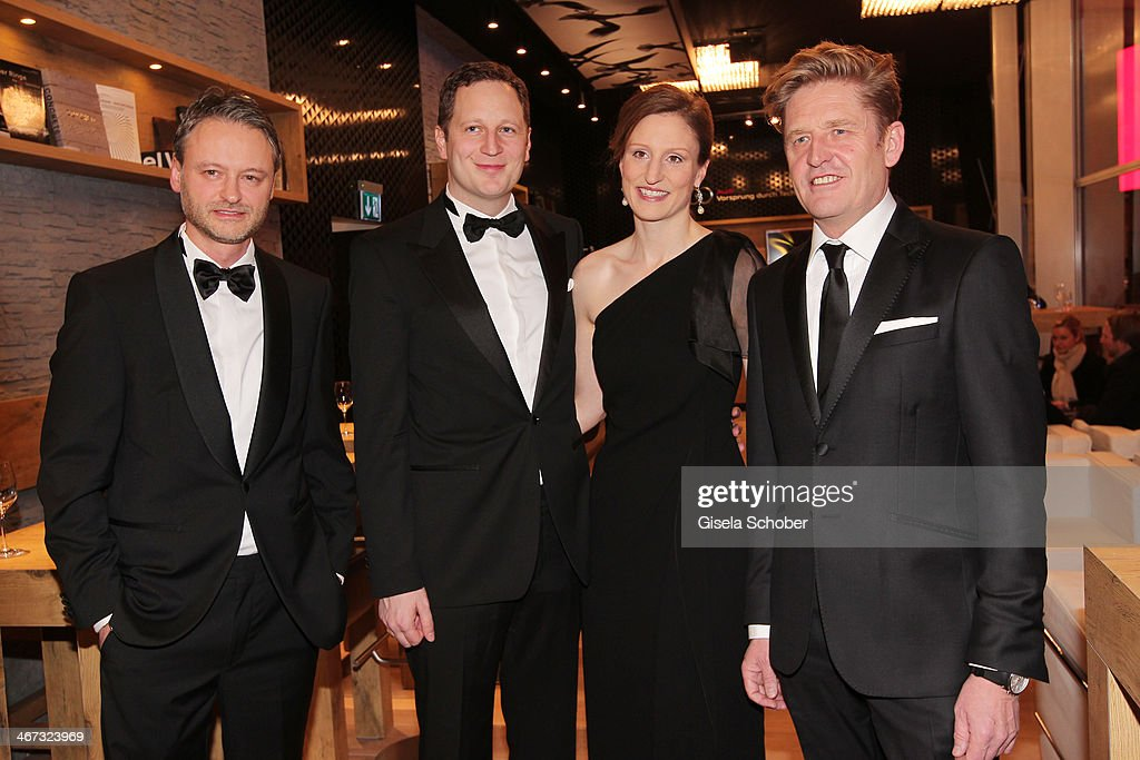 Martin Bayer, Prince Georg Friedrich Ferdinand Prussia, Princess Sophie of Prussia and Wayne Griffiths pose inside the AUDI Lounge at the Marlene Dietrich Platz during day 1 of the Berlinale International Film Festival on February 6, 2014 in Berlin, Germany.