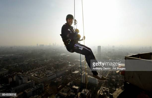 Martin Bayfield abseils down the BT Tower in aid of Sport Relief and the Royal Marines Charitable Trust Fund London