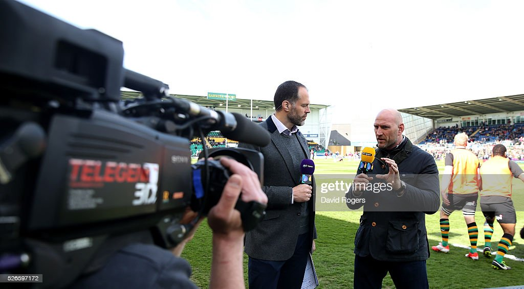 Martin Bayfield (L) and <a gi-track='captionPersonalityLinkClicked' href=/galleries/search?phrase=Lawrence+Dallaglio&family=editorial&specificpeople=162771 ng-click='$event.stopPropagation()'>Lawrence Dallaglio</a> face the BT Sport cameras during the Aviva Premiership match between Northampton Saints and Bath at Franklin's Gardens on April 30, 2016 in Northampton, England.