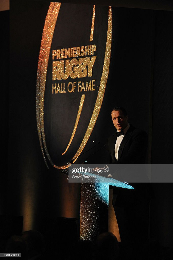 Martin Bayfield speaks to guests during the inaugural Premiership Rugby Hall of Fame Ball at the Hurlingham Club on February 7, 2013 in London, England.